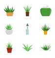 aloe vera plant icon set flat style vector image vector image