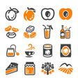 apricot icon set vector image vector image