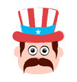 avatar of a man with an american party hat vector image