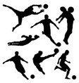 black silhouette of soccer player in different vector image vector image