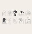 bohemian linear logos icons and symbols vector image vector image