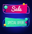 bright neon sale sign background for your vector image