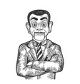 businessman puppet head sketch engraving vector image vector image