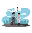 businessman selling medicine to doctor vector image
