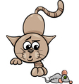 cat with toy mouse cartoon vector image vector image