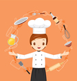 Chef With Kitchen Appliances Objects And Icons vector image vector image