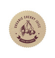 cherry juice round emblem vector image vector image