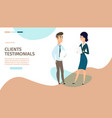 clients testimonials cartoon web banner vector image