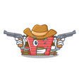 cowboy character red barn building with haystack vector image