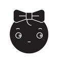 cute girly emoji black concept icon cute vector image