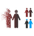 damaged pixel halftone workers icon vector image vector image