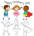 doodle children day graphic vector image