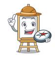 explorer easel mascot cartoon style vector image vector image