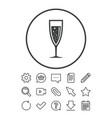glass of champagne sign icon alcohol drink vector image vector image