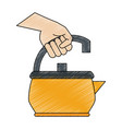 hand with tea pot vector image vector image
