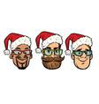 head santa claus multi-ethnic group vector image vector image