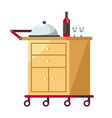 hotel tray on cart with covered dish and wine vector image