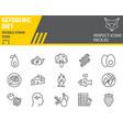 keto diet line icon set ketogenic symbols vector image vector image