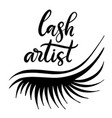 lashes lettering vector image vector image