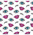 lips and eyes patches seamless pattern vector image
