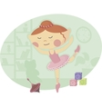 Little Ballerina in Pink Tutu Dress vector image