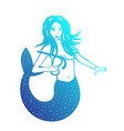 mermaid with diving mask over white vector image vector image