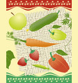organic vegetables fruits berries on square mat vector image