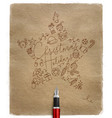 pen line drawing christmas tree toy star craft vector image vector image