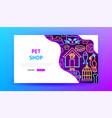 pet shop neon landing page vector image