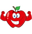 Red Apple With Muscle Arms vector image vector image