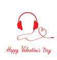 Red headphones and cord in shape of heart vector image vector image