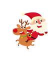 santa claus with deer cartoon vector image vector image