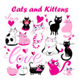 set funny kittens and cats with hearts vector image vector image
