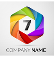 Seven number colorful logo in the hexagonal on vector image vector image