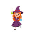 small red-haired girl witch standing with glass vector image vector image