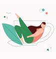 smiling woman fills at tea or coffee cup line vector image
