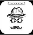 steampunk hat glasses and a mustache hand vector image vector image