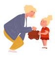 teacher talking to kid pupil taking schoolbag vector image vector image