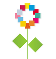 The flower is built from color paper on a white vector image vector image