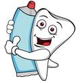 tooth characrer with tooth paste vector image