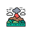 volcano mountains landscape flat color line icon vector image vector image
