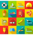 Water sports icons set in flat style vector image