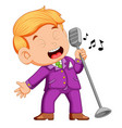 young man singing vector image