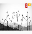 young tree branches and mountains in fog vector image vector image