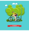Cycling in the forest flat design vector image