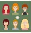 women avatar set vector image