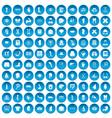 100 anatomy icons set blue vector image