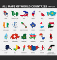 all maps world countries and flags set 4 of vector image