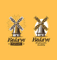 bakery bakehouse logo or icon bread mill vector image vector image