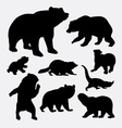 Bear and raccoon wild animal silhouette